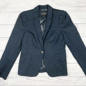 J. Crew Navy Blue Puff Sleeve Blazer